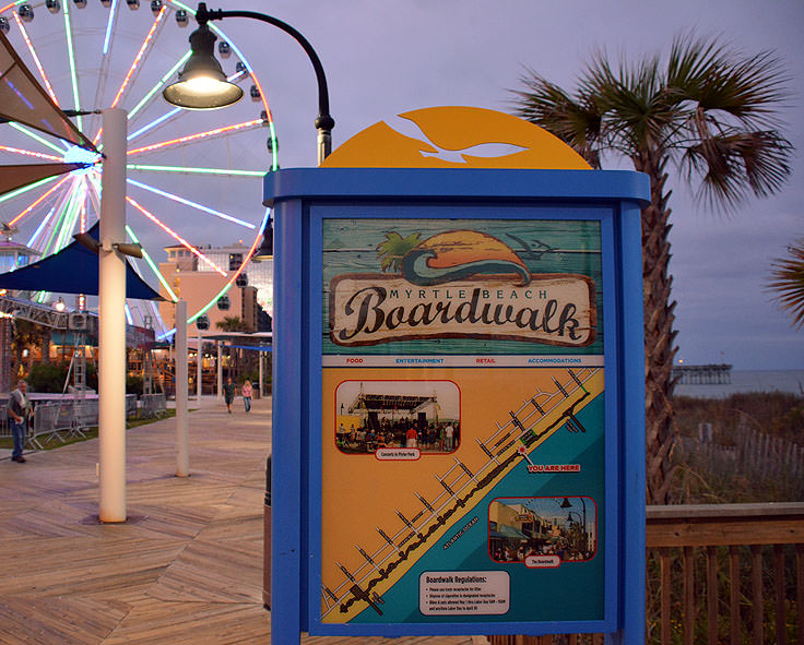Myrtle Beach Boardwalk Sign And Map