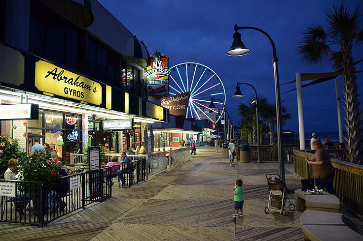 Myrtle Beach Boardwalk At Night