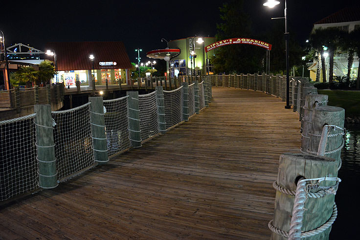 The elevated boardwalk at Broadway at the Beach in Myrtle Beach, SC