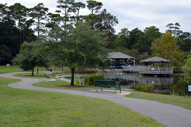 The walking path in Mclean Park in Myrtle Beach, SC