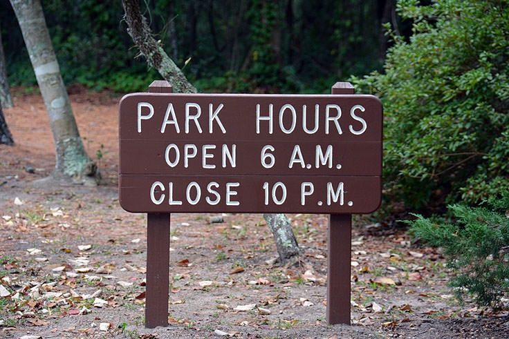 Hours of operation at Myrtle Beach State Park